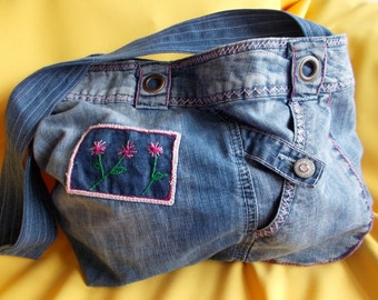 Blue Jean Bag with Pink Hand Sewn  Embroidery, Shoulder Bag, Recycled Upcycled Blue Jean Bag