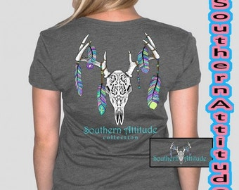 Southern Attitude Feather Skull - Gray new