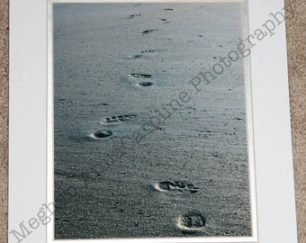 Foot prints in the sand (matted photo)