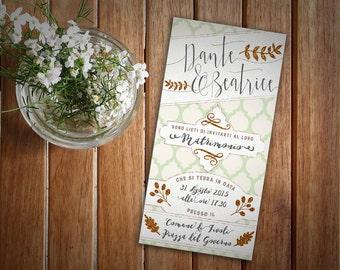 "Wedding card ""Casablanca""-custom invitation ethnic style, glitter"