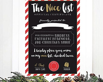 A4 Children's Nice List Certificate Style Christmas print