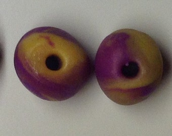 Yellow and Purple Polymer Clay Beads