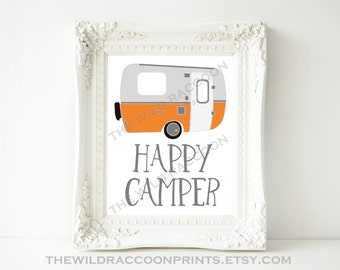 Happy Camper Printable, Tangerine Nursery Print, Nursery Art, Vintage Camper, Orange and Gray, Camping, Nursery Print, Digital Art Print