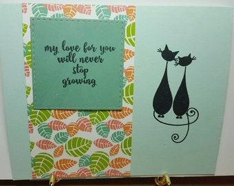 """Anniversary card """"my love for you will never stop growing"""""""