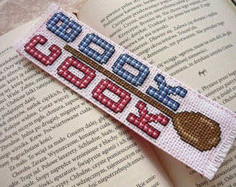 Cross stitch bookmark - Cook Book, embroidered bookmark, gift for readers, book lover
