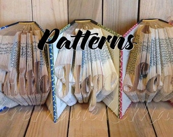 Faith Hope Love - Set of 3 Folded Book Art Patterns - Measure Mark Fold - Instant Download!