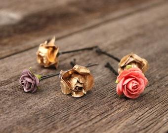 Gold Flower Hair Pins Headpiece Plum Bobby Pins Coral Bridal Hair Accessories Wedding Flower Pins