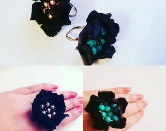 Ring With Leather Flower