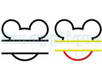 mouse Applique design for Machine Embroidery instant download 3 sizes. (two styles designs)