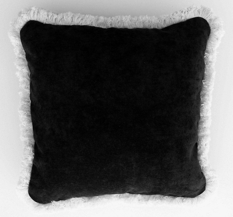 large black and white cotton velvet decorative throw pillow