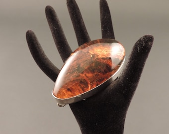 Baltic amber and silver brooch pendant-925