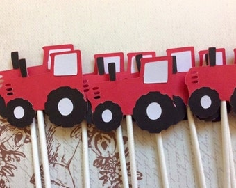 12 Red and White Tractor Cupcake toppers Baby Shower/Birthday Party Decorations