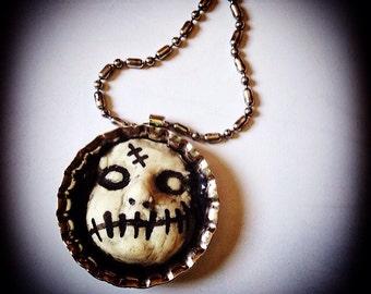 creepy doll face necklace on ball chain christiecreepydolls halloween horror gothic
