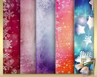 5 Christmas digital Backdrops Vol. 4 - pink Christmas background - digital scrapbook background - x-mas Backdrop - instant download  12 x 12