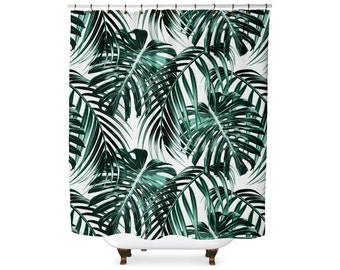 Tropical leaf forest green shower curtain