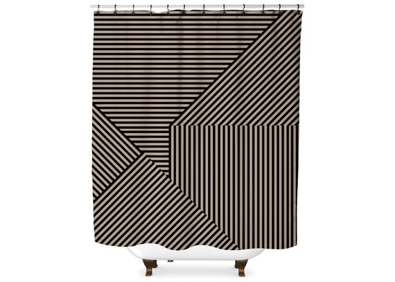 Black And Tan Geometric Striped Graphic Shower Curtain