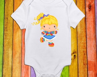 80's doll//Rainbow//Short Sleeve Shirt//Bodysuit for Baby//Toddler//Baby Shower Gift//Baby Clothes//Toddler T Shirt//Birthday Shirt
