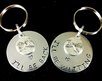 Set of 2 Couples Keychains,Couples Key Chains,Pinky Promise Key Chains,Deployment Gift,Police Officer Gift,Military Gift,Distance Keychains