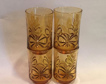 Set of Four Vintage Libbey Glass Ombre Golden Wheat Juice Glasses