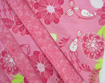 Pink Bird and Flower Fabric Bunting