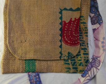 Handmade coffee bean sack messenger bag, hessian shoulder sling bag, recycled coffee bean sacks, travel bag, sling bag, messenger bag,