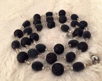 Velvet RARE Hawaiian Seeds/ Clear Crystal Bicone & Black Lava Rock Bead/ Exotic Mgambo Seeds/ Necklace and bracelet set/ FREE EARRINGS