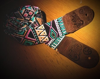 Jungle Fever Leather Ended Aztec Guitar Strap - Sexy Straps