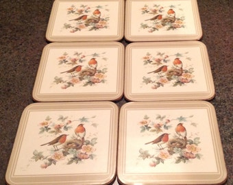 Vintage Pimpernel Coasters Finch Bird Nature Animals England Set Of Six Including Box