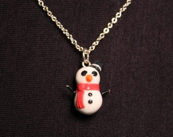 Miniature Snowman with Red Scarf Christmas  Necklace
