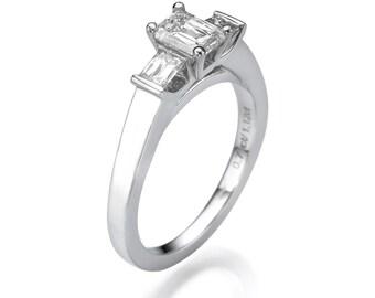3 Stone Ring, Emerald Cut Engagement Ring, 18K White Gold Ring, 1.12 CT Diamond Ring, Three Stone Ring Size 5.5