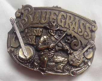 Vintage 80's Brass Bluegrass Buckle
