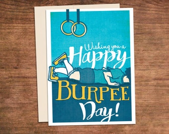 Crossfit Birthday Burpee Card - Happy Burpee Day - Customized Customizabble Fitness Gym Greeting Card