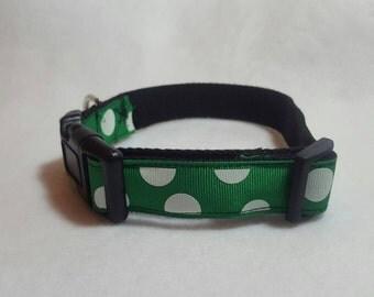Green with white polka dot dog collar