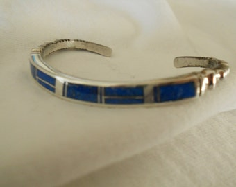 Sothwestern Sterling Silver and Lapis Cuff Bracelet.   Stock #(1057).