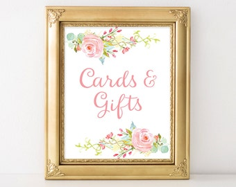 PRINTABLE Cards and Gifts Sign | 8x10, 5x7 Watercolor Floral Wedding Print | Pink Flowers Reception Print INSTANT DOWNLOAD
