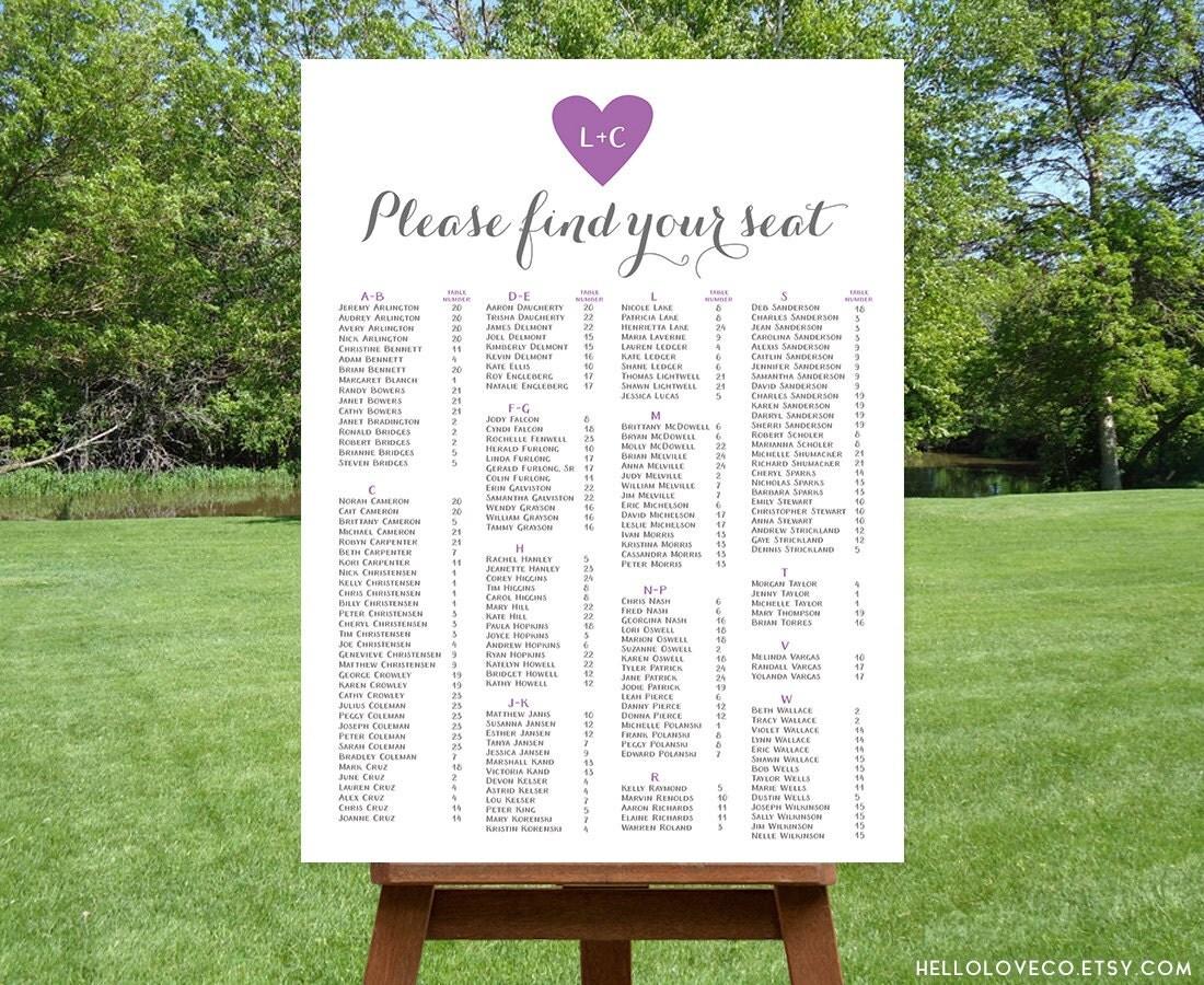 wedding seating chart printable custom arresting poster template