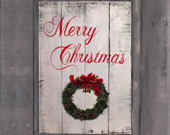 Christmas Wreath Christmas Sign Holiday Decor Home Decor Pallet Sign Merry Christmas