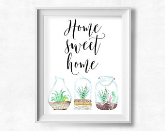 Cactus Printable Art, Home Sweet Home Decor, Succulent Wall Art, Inspirational Print, Typography Print, Instant Download