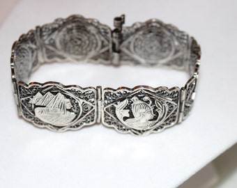 Ancient Egyptian silver filigree bracelet. Kings and queens. Pyramids and sphinx. Handmade historic jewelry. Nefertiti. Cleopatra.