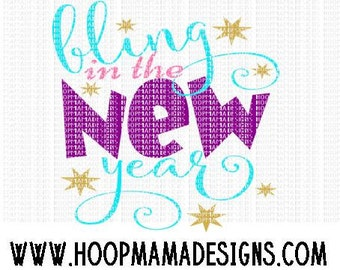 Bling In The New Year SVG DXF EPS and png Files for Cutting Machines Cameo or Cricut Explore - New Years Eve Day