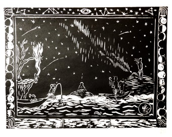 The Night Storytelling Was Born - Original Woodblock Print