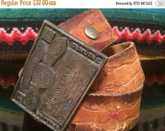 Sale Budweiser buckle and hand tooled belt