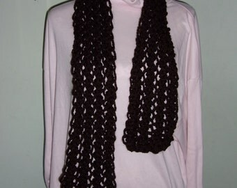 Hand Made Brown  Knitted Scarf