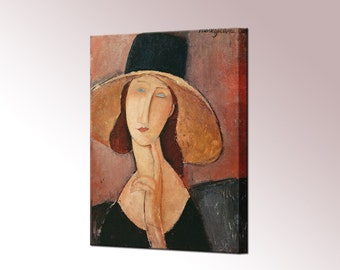 Jeanne Hebuterne in a Large Hat Canvas Print Amedeo Modigliani Framed Ready To Hang Wall Art