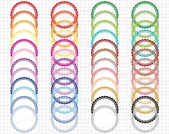 "Scalloped Circle Label: ""Circle Frame Clipart"" Printable Circle Labels, Digital Clip Art Frame, Digital Frames Label, Labels Clipart"