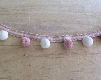 Rose and Ivory Pom Pom Trim 100%  cotton.