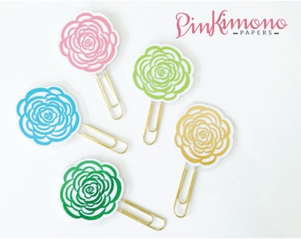 Pretty Little Rosette Paper Clips   Planner Accessories   Flower Stationery   Laminated Planner Clips   Flower Clips