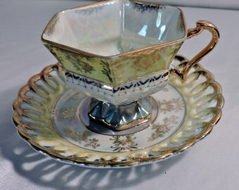 Luster Tea Cup Pastel Yellow Light Green Gold Accents Lace Accents