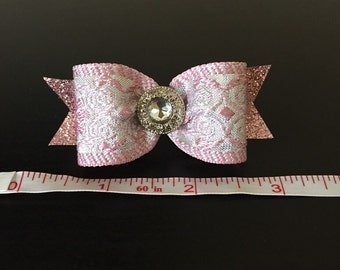 Pink and silver brocade dog bow