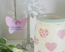 Kitchen utensil holder, this one says spoons but can be changed to say utensils, heart design utensil holder, utensil jar, hearts kitchen